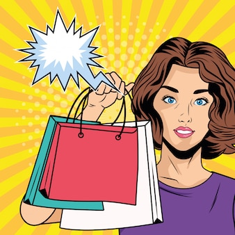 Menina com sacolas de compras e personagem de estilo de arte pop de bolhas de discurso