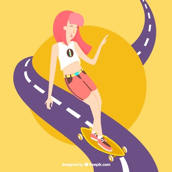 Menina com seu skate na estrada