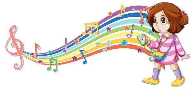 Menina com símbolos de melodia na onda do arco-íris