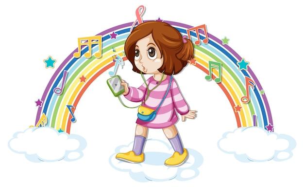 Menina com símbolos de melodia no arco-íris