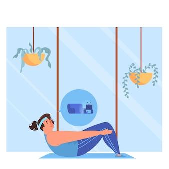 Menina com sobrepeso fazendo exercícios, treinando para ter uma figura em forma. mulher gorda fazendo atividades em vez de um estilo de vida não saudável.