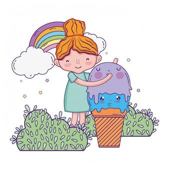Menina com sorvete kawaii personagem