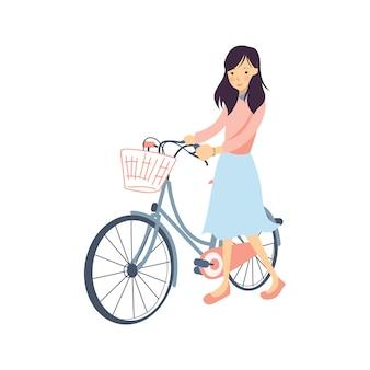 Menina com sua ilustração de bicicleta