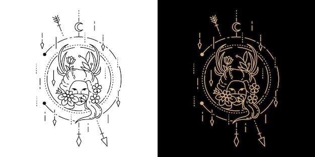 Menina com tatuagem geométrica de flores monoline design