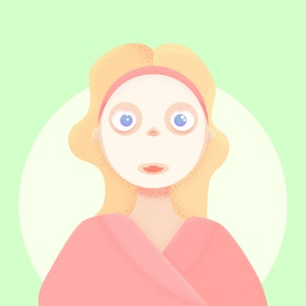 Menina com textura de ruído de ilustração de máscara vector