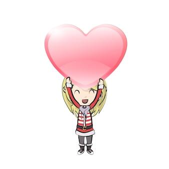 Menina com traje de papai noel segurando um coração vermelho