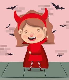 Menina com traje do diabo e morcegos voando na parede