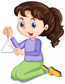 Menina com triângulo em fundo isolado