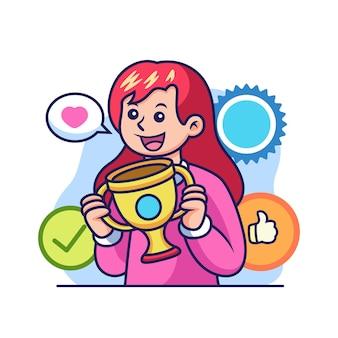 Menina com troféu de desenho animado. ilustração do ícone acadêmico, isolada