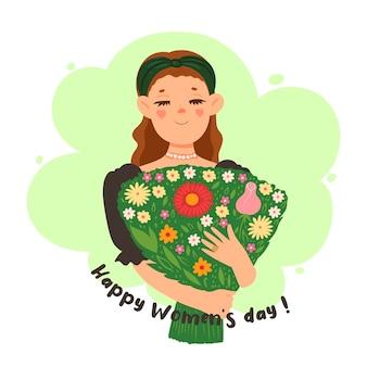 Menina com um buquê de flores e a inscrição feliz dia das mulheres.