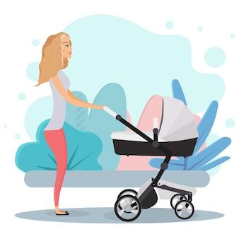 Menina com um carrinho de bebê. mãe com um carrinho para crianças. loira, mãe, carrinho de bebê.