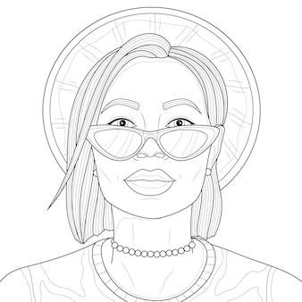 Menina com um chapéu e óculos. livro anti-stress para colorir para crianças e adultos. ilustração isolada no fundo branco. desenho preto e branco