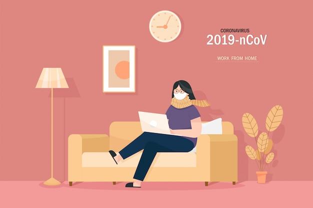Menina com um laptop sentado no sofá. freelance ou conceito de estudo.