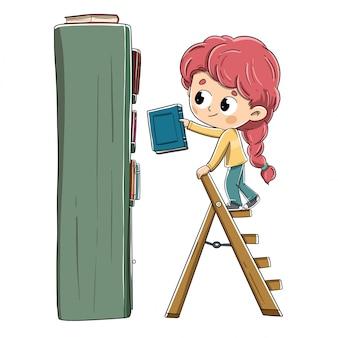 Menina com um livro, colocando-o na estante