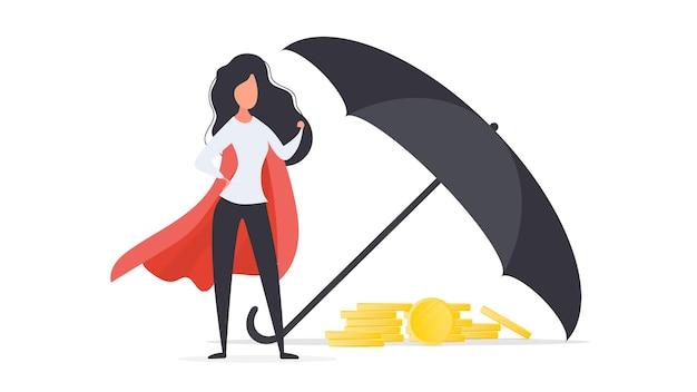 Menina com um manto vermelho. o guarda-chuva cobre uma montanha de moedas de ouro. conceito de segurança de negócios e finanças. isolado. vetor.