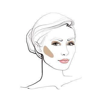 Menina com um penteado elegante. rosto abstrato. ilustração de moda.