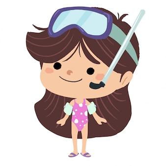 Menina, com, um, swimsuit, e, um, par, de, óculos de mergulho