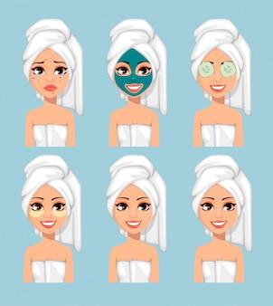 Menina, com, um, toalha, ligado, dela, cabeça