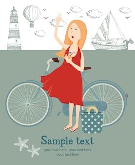 Menina com uma bicicleta na praia