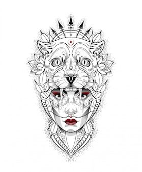 Menina com uma máscara de tigre na cabeça