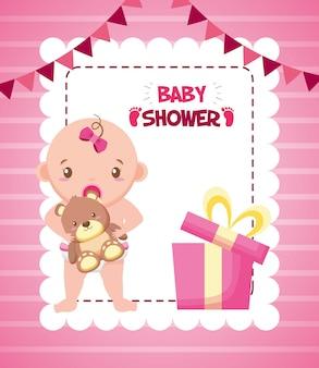 Menina com urso para cartão de chuveiro de bebê