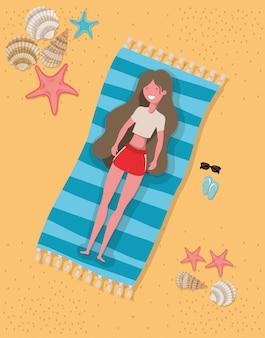 Menina, com, verão, swimwear, desenho