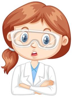 Menina com vestido de ciência em fundo branco