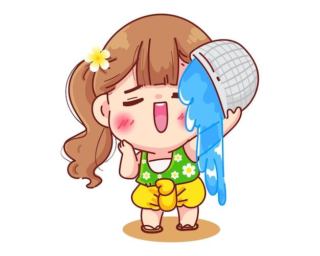 Menina com vestidos tailandeses espirrando água festival songkran sinal da tailândia cartoon illustration