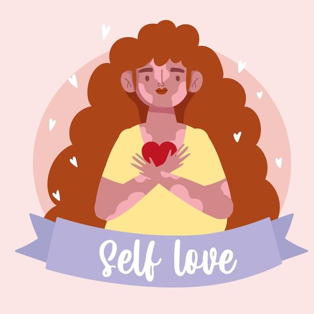 Menina com vitiligo segurando ilustração de amor próprio de personagem de desenho animado