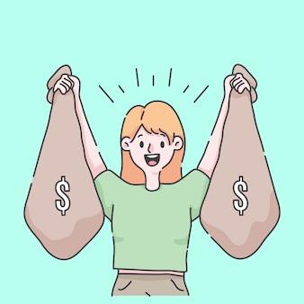 Menina comemorando e segurando toneladas de dinheiro