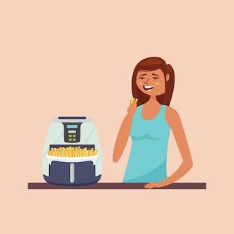 Menina comendo batata frita
