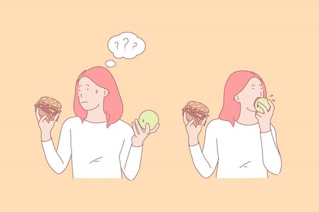 Menina comendo maçã e hambúrguer ilustração