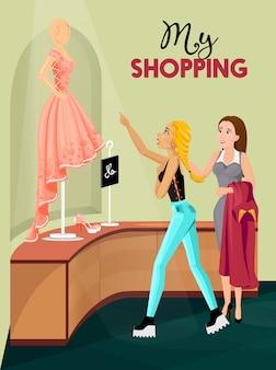 Menina compras, em, loja, interior, ilustração