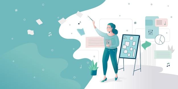 Menina condutora de marketing de negócios com vara de maestro, gerenciando o administrador vector