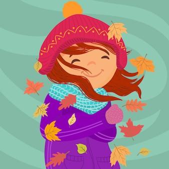 Menina congelando em um dia muito ventoso