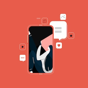 Menina conversando nas mídias sociais, marketing de mídia social, marketing e publicidade, se comunica por telefone no messenger Vetor Premium