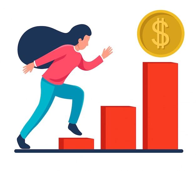Menina corre no gráfico para o sucesso. aumento nos ganhos. ícone de moeda de dólar.