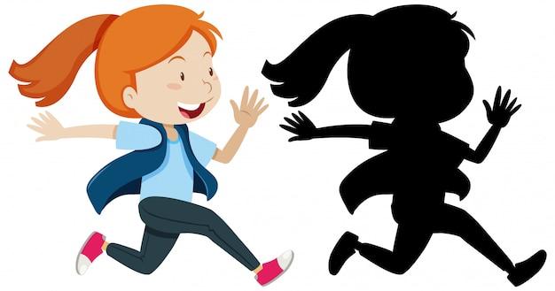Menina correndo com sua silhueta