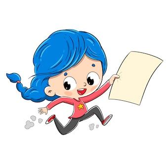 Menina correndo com um papel anunciando algo urgente.