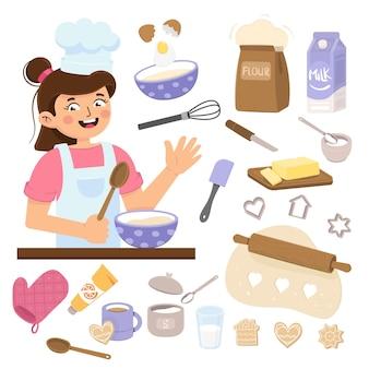 Menina cozinha na cozinha, ferramentas de padeiro isoladas em um fundo branco
