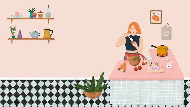 Menina cozinhando em uma cozinha desenho estilo vetor de fundo