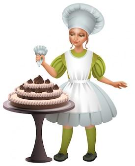 Menina cozinhar uniforme decorado bolo de chocolate
