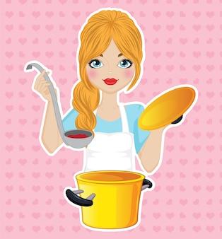 Menina cozinhar