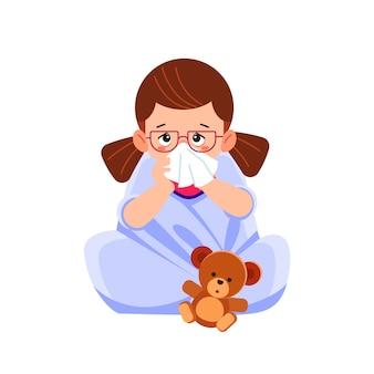 Menina criança doente sentado na cama com urso de brinquedo e assoar o nariz, me sinto tão mal com febre. ilustração dos desenhos animados Vetor Premium