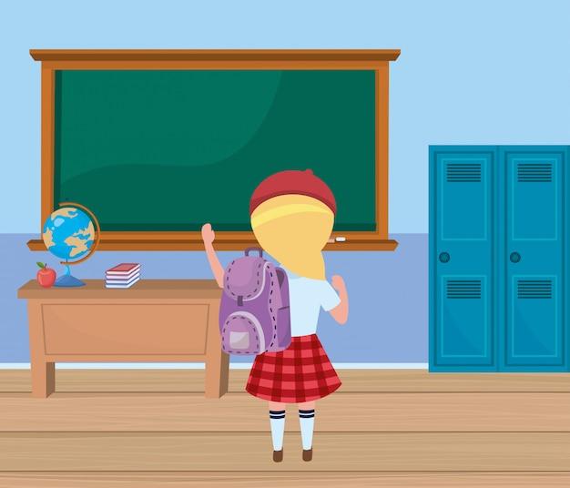 Menina, criança, em, escola