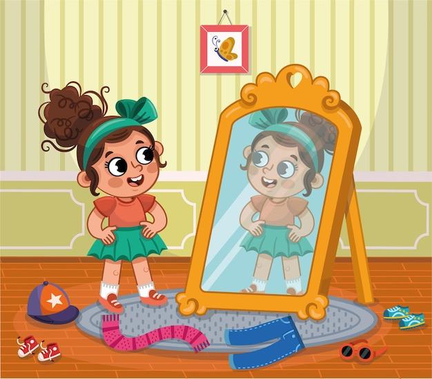Menina criança feliz experimentando roupas olhando para o espelho. ilustração vetorial