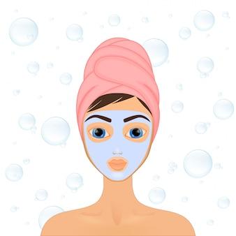 Menina cuida e protege o rosto com várias ações, facial, tratamento, beleza, saudável, higiene, estilo de vida, conjunto, em uma toalha, máscara,
