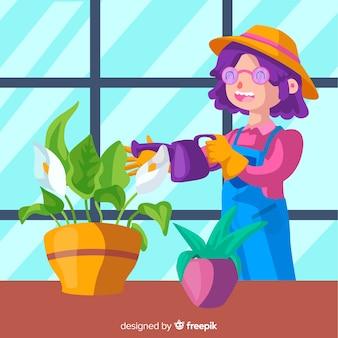 Menina cuidando de plantas