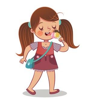 Menina curtindo sua ilustração vetorial de sorvete