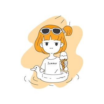 Menina cute espera sorvete derretendo no verão, linha simples e limpa cartoon ilustração vetorial de estilo